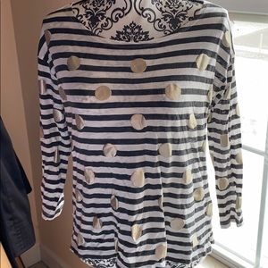J. Crew Polka Dot Striped Boat Neck Tee Medium